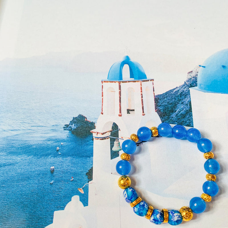 Halcyon & Hadley Amphitrite Bracelet with Glass and Blue Chalcedony Beads - Women's Earrings - Women's Jewelry - Unique Earrings - Statement Earrings