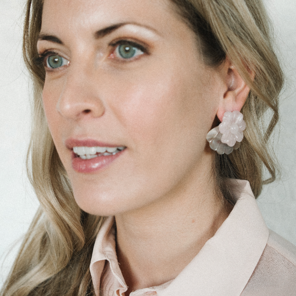 Halcyon & Hadley South China Sea Statement Studs in Rose Quartz and Black Lip Shell - Women's Earrings - Women's Jewelry - Unique Earrings - Statement Earrings
