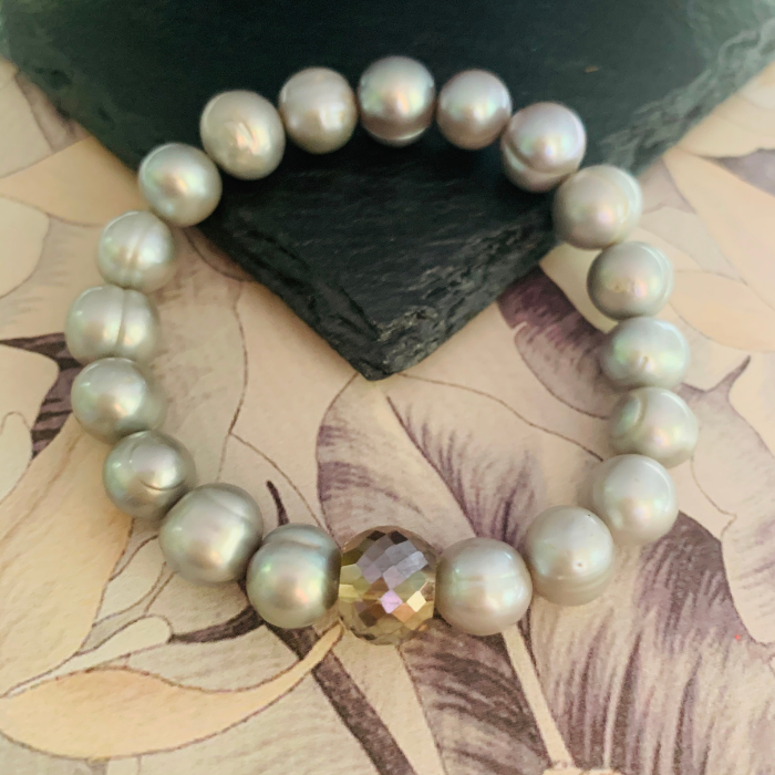 Silver Baroque Pearl Bracelet with Crystal Bling