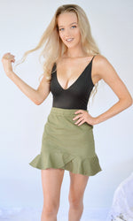 Jungle // Khaki Frill Skirt
