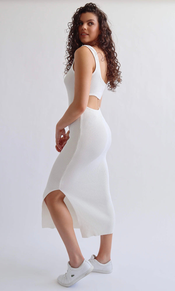 Minou // Ribbed Knit Dress (White)