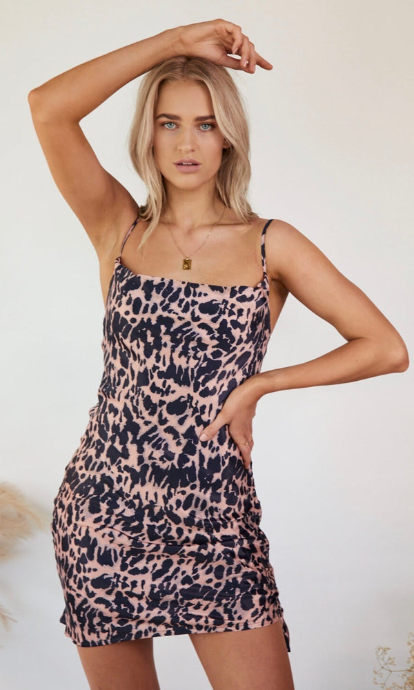 Instinct // Leopard Drawstring Mini Dress