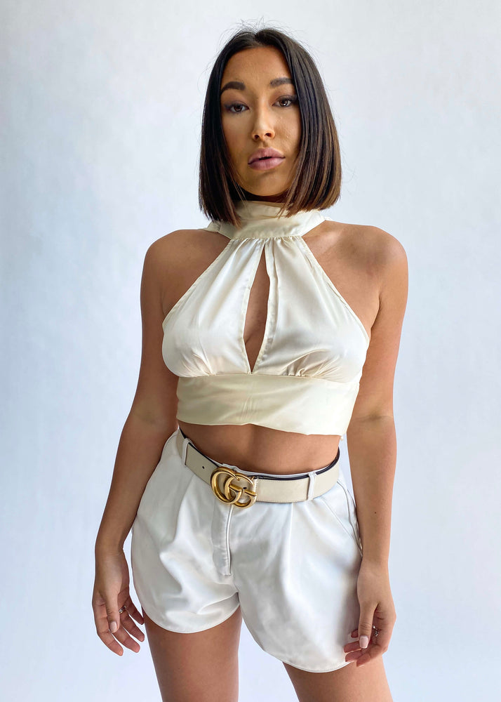 Intensité // Cream Silk Tie Back Top