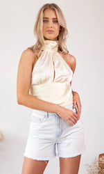 L'intensité // Cream Silk Tie Back Top