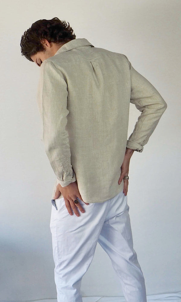 Linen Long Sleeve Shirt // Tan