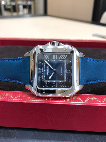 Cartier WSSA0013 Santos Midnight Blue Dial Calf Strap Carat & Co. Authorized Retailer