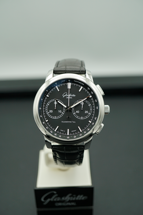 1-39-34-20-42-04 Glashutte Original Chronograph Black Dial Carat & Co. Authorized Retailer Sale