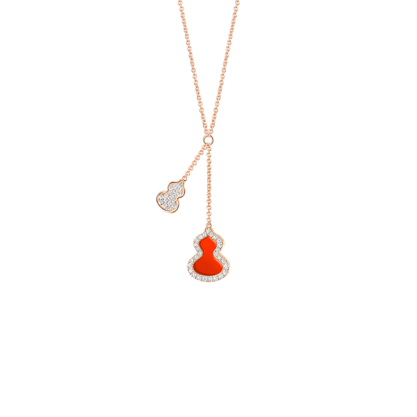 Petite Wulu Necklace Diamonds & Red Agate