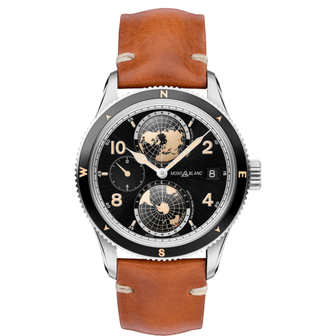 Montblanc 119286 1858 Geosphere 42mm World Timer Automatic Watch Brown Leather Strap Stainless Steel Deployant Buckle Carat & Co. Authorized Retailer