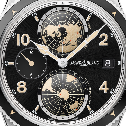 Montblanc 119286 1858 Geosphere 42mm World Timer Automatic Watch Brown Leather Strap Stainless Steel Deployant Buckle Enhanced Black Dial Carat & Co. Authorized Retailer
