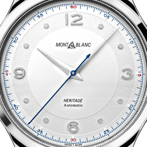 Montblanc 119943 Heritage Automatic 40mm 3 Hands Watch with Grey Sfumato Alligator Strap Enhanced Dial Design Carat & Co. Authorized Retailer
