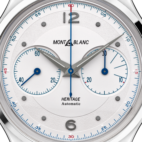 Montblanc 119951 Heritage Monopusher Chronograph 42mm Automatic Watch Gray Sfumato Alligator Leather Strap Enhanced Dial Carat & Co. Authorized Retailer