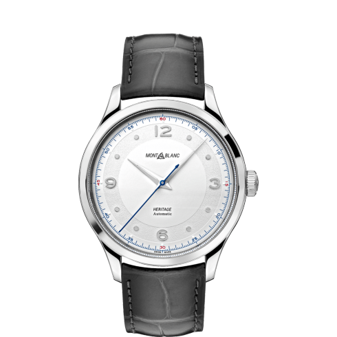 Montblanc 119943 Heritage Automatic 40mm 3 Hands Watch with Grey Sfumato Alligator Strap Carat & Co. Authorized Retailer