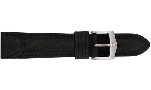 Tab End Leather Watch Strap Black