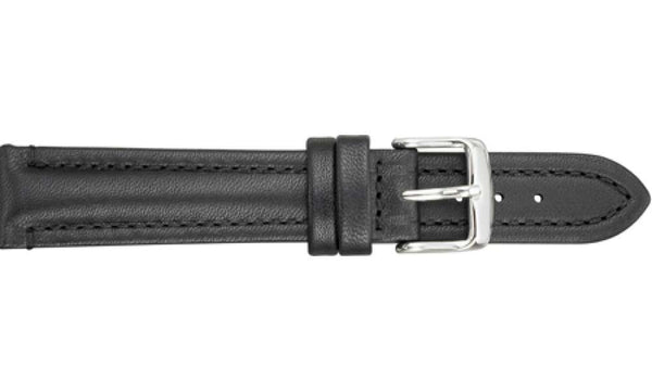 Water-Resistant Leather Black Watch Strap