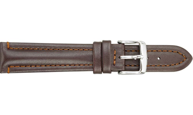 Water-Resistant Leather Brown Watch Strap