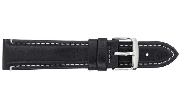 Waterproof Sports Leather Black Watch Strap