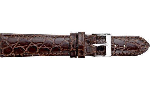 Brown Crocodile Grained Leather Watch Strap