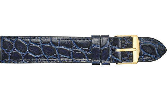 Navy Blue Crocodile Grained Leather Watch Strap