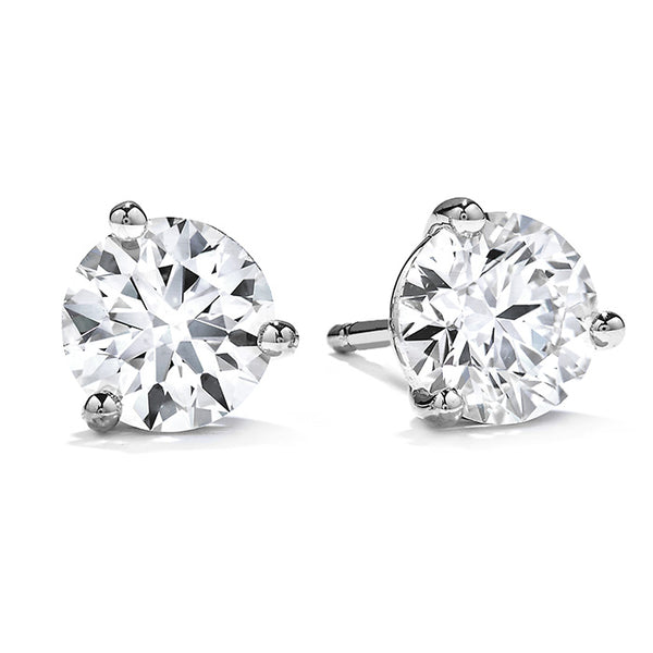 White Gold Three-Prong Stud Earrings