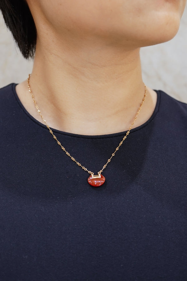 Qeelin Small Yu Yi necklace in 18K rose gold with diamonds and red agate
