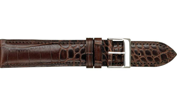 Shiny Louisiana Alligator Grained Leather Brown Watch Strap