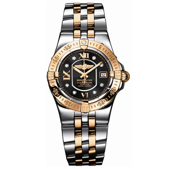 Starliner Black Dial Ladies 2 Tone Watch
