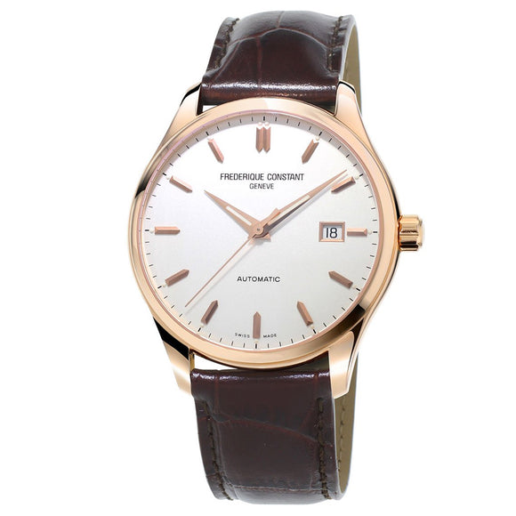 Frederique Constant Classics Index Date Window Rose Gold PVD Leather Strap FC-303V5B4 Carat & Co. Authorized Retailer
