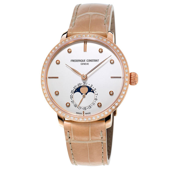 frederique constant slimline moonphase ladies watch diamonds FC-703VD3SD4 rose gold plated steel case date sale