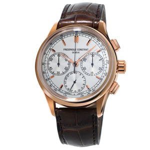 Frederique Constant Flyback Chronograph Manufacture FC-760V4H4 Rose Gold PVD Leather Strap Carat & Co. Authorized Retailer