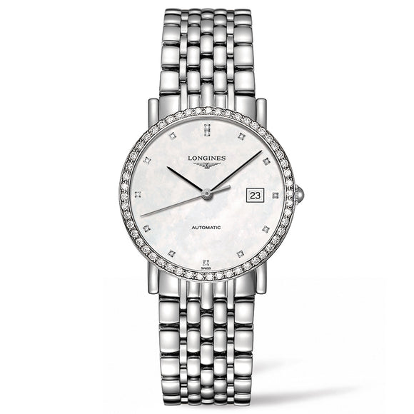 The Longines Elegant Collection 34mm Stainless Steel with Diamonds