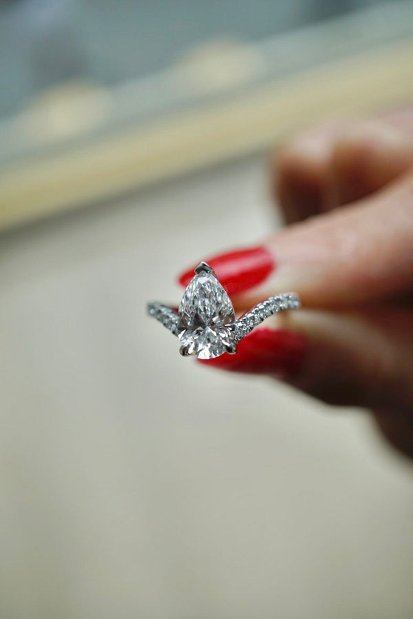 Pear Drop Diamond Engagement Ring