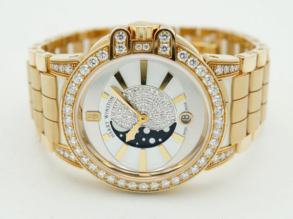Harry Winston Ocean Lady Moon Phase 36mm Rose Gold Watch OCEQMP36RR010