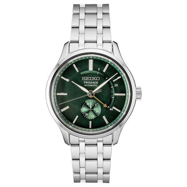 Seiko Presage Automatic Watch SSA397 Green Dial with Power Reserve Sapphire Crystal