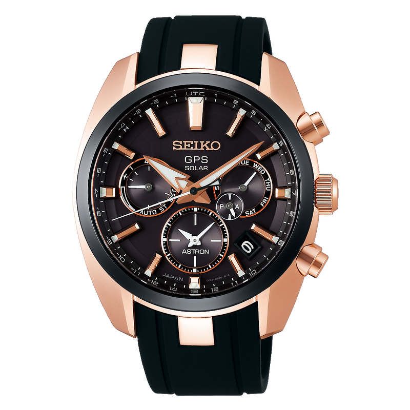 Seiko Astron Solar GPS SSH024 SSH024J1 Rose Gold PVD Carat & Co. Authorized Retailer