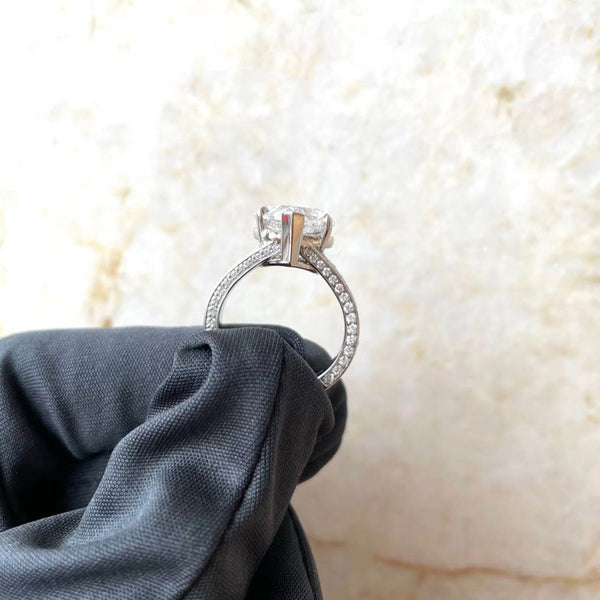 Heart True Pave Split Shank Engagement Ring