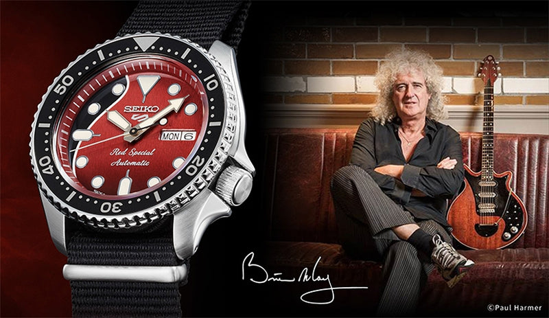 Seiko 5 Brian May Limited Edition SRPE83 Red Special Carat & Co.