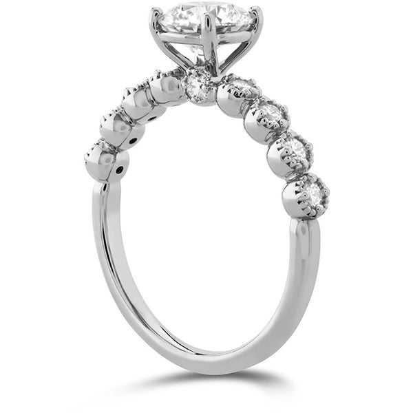 HOF Diamond Bar Single Prong Milgrain Engagement Ring