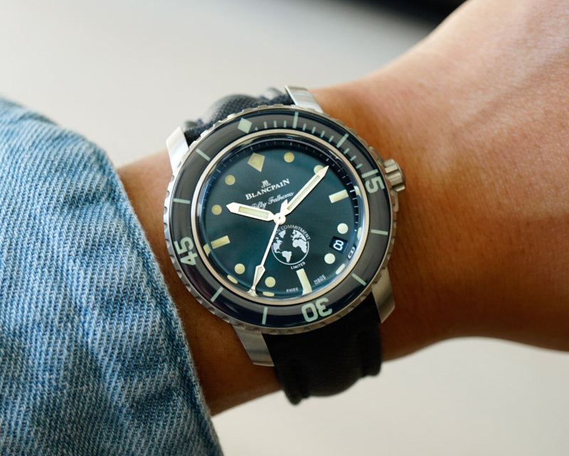 Blancpain Fifty Fathoms Ocean Commitment III Limited Edition 5008-11B40-52A wrist shot
