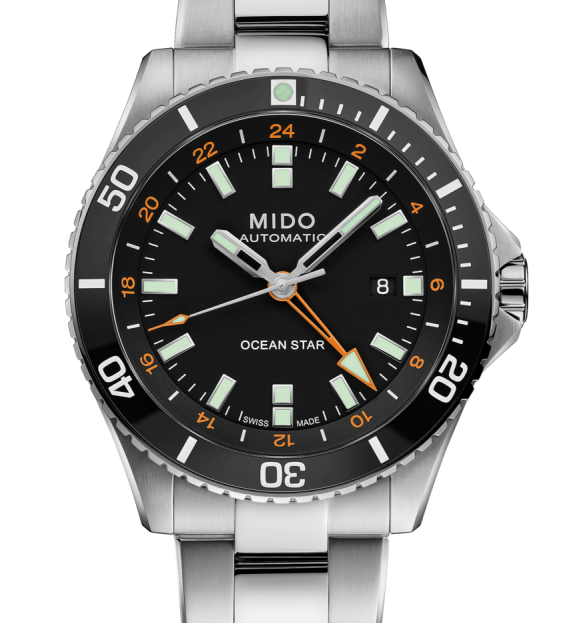 Mido Ocean Star GMT M026.629.11.051.01 Black Dial Black Bezel with Bracelet