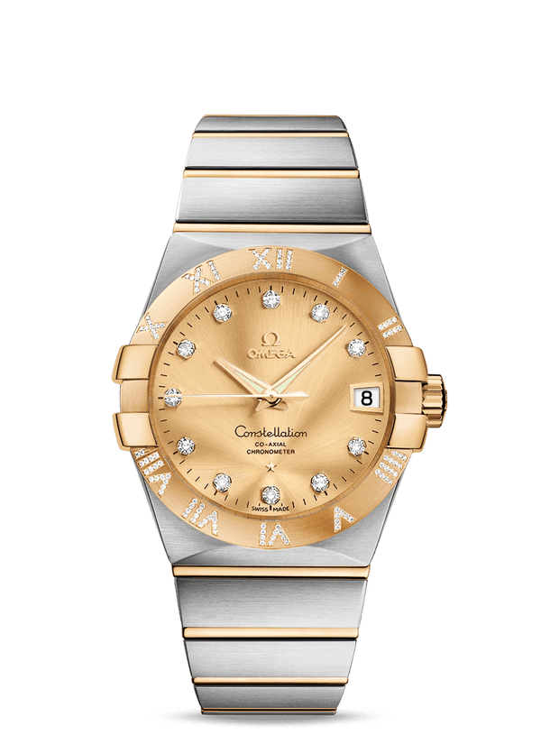 Omega Constellation Co-Axial 38mm Diamonds Gold and Steel