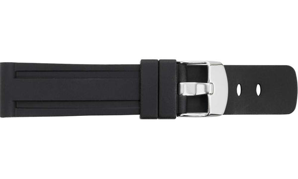 Silicone Black Heavy Sports Watch Strap