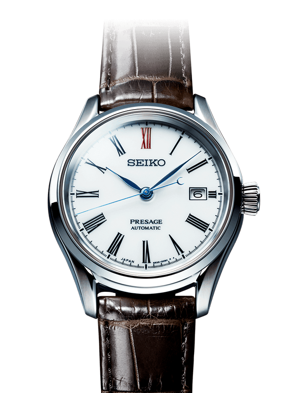 Seiko Presage Arita Porcelain SPB095 White Dial 40mm Brown Crocodile Strap with Folding Clasp Carat & Co. Authorized Retailer