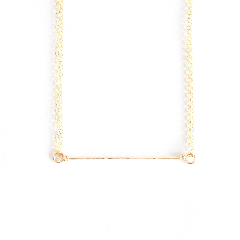 Short Delicate Hammered Bar Necklace in 14k Gold-Fill