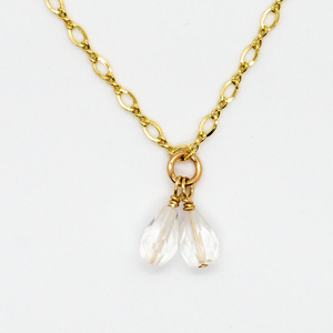 Delicate Choker Necklace with Double Teardrop Shaped Quartz Crystal Drop in 14k Gold-Fill