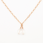 Delicate Choker Necklace with Double Teardrop Shaped Quartz Crystal Drop in 14k Rose Gold-Fill