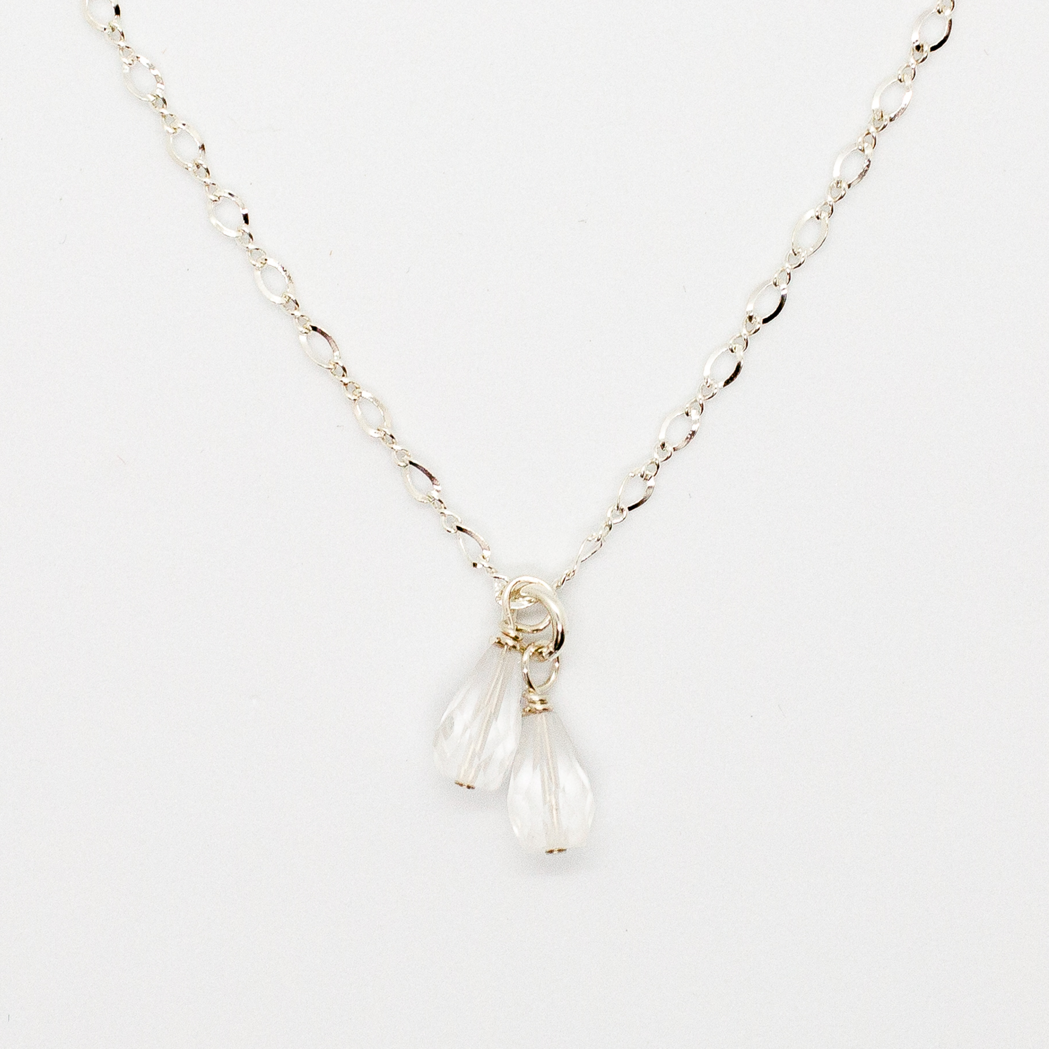 Delicate Choker Necklace with Double Teardrop Shaped Quartz Crystal Drop in Sterling Silver