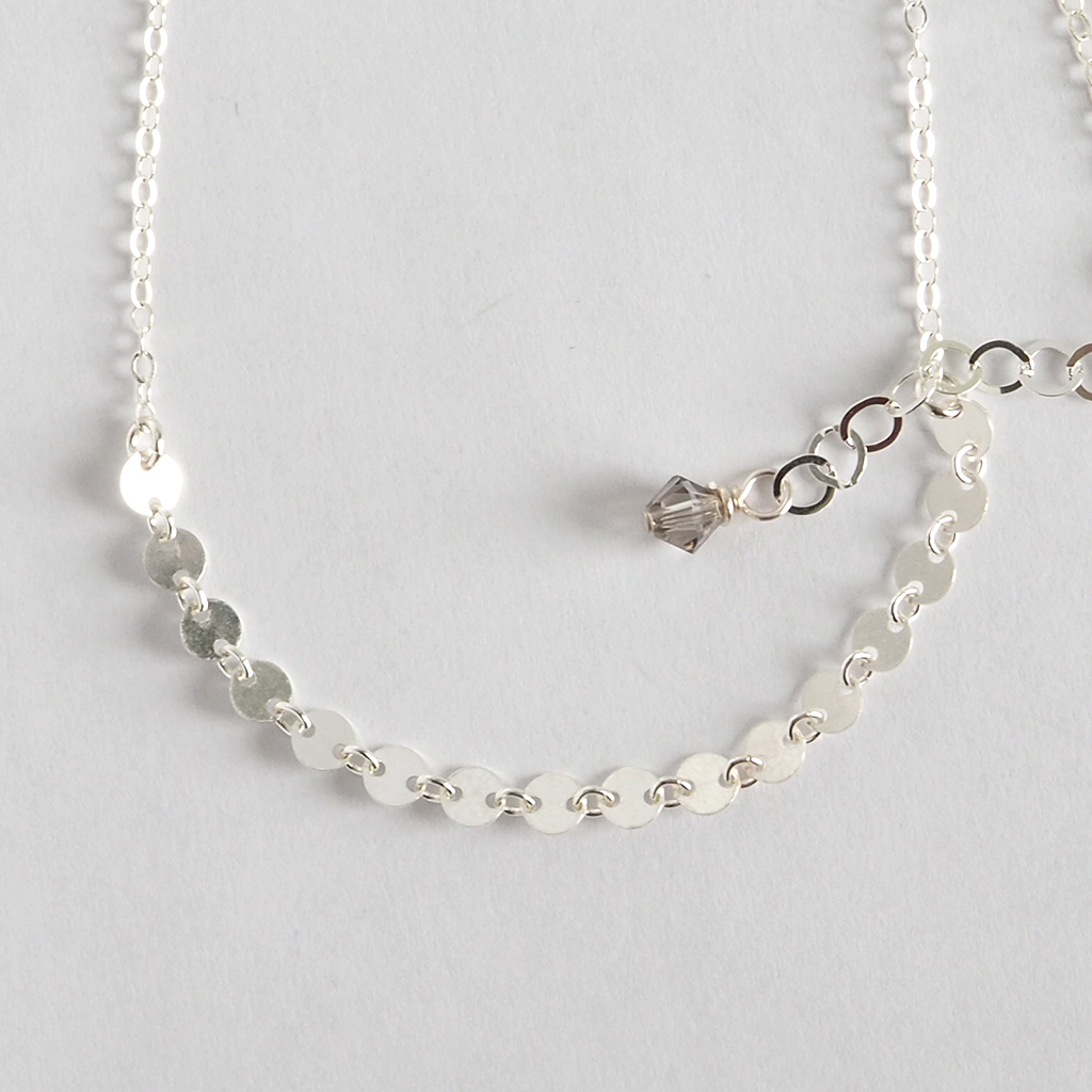 dainty, minimalist, and delicate sterling silver women's disc choker necklace