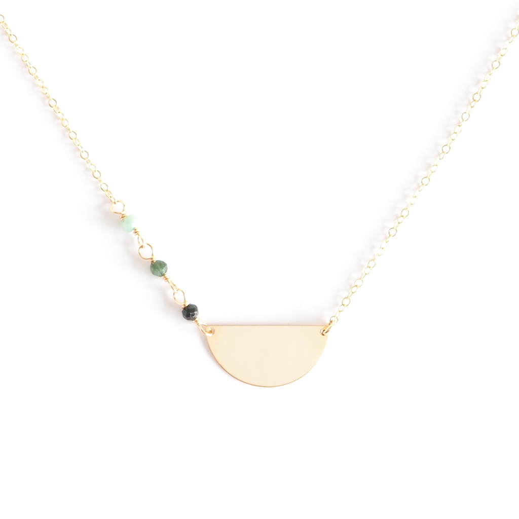 Ombré Emerald Half-Moon Pendant Necklace