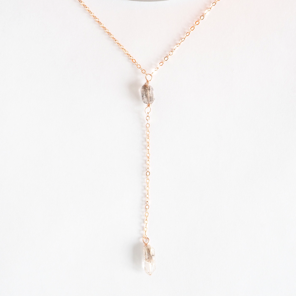 Herkimer Diamond Lariat Necklace